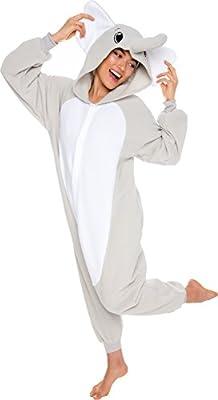 Silver Lilly Unisex Adult Pajamas - Plush One Piece Cosplay Elephant Animal Costume