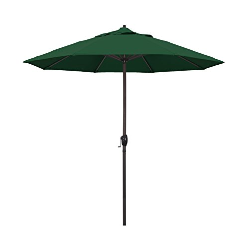California Umbrella 9' Round Aluminum Market Umbrella, Crank Lift, Auto Tilt, Bronze Pole, Hunter Green Olefin