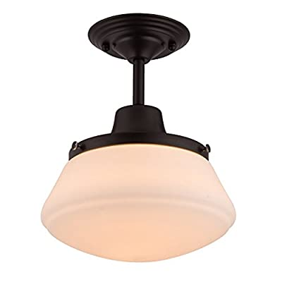 CO-Z Semi Flush Mount Ceiling Light, Modern Industrial Farmhouse Vibe Ceiling Lighting Fixture for Hallway Bedroom Kitchen Barn Porch, Oil Rubbed Bronze Schoolhouse Light with Opal Glass Shade