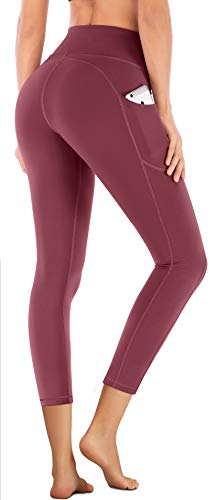 IUGA High Waist Yoga Pants with Pockets, Tummy Control, Workout Pants for Women 4 Way Stretch Yoga Leggings with Pockets (Maroon 7880, Small)