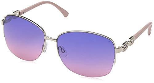 Rocawear Women's R3291 Slvrs Non-Polarized Iridium Round Sunglasses, Silver Rose, 65 mm
