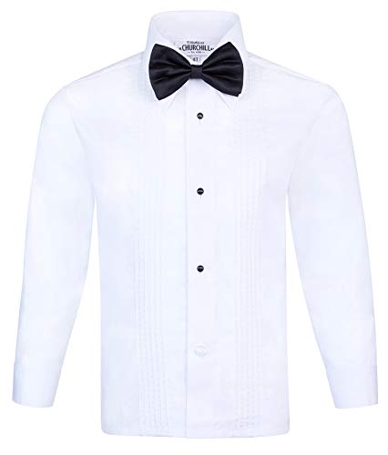 S.H. Churchill & Co. Boy's White Tuxedo Shirt with Bow Tie and Studs, 8