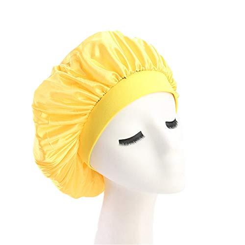 Women Ladies Luxury Wide Band Chemo Cap Beauty Salon Cap Night Sleep Cap Head Cover Satin Bonnet Hat ()
