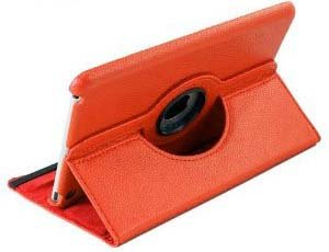 MegaGear 360 Degrees Rotating Stand Leather Smart Cover Case for iPad Mini/New iPad 7.85 inch Tablet (Orange)