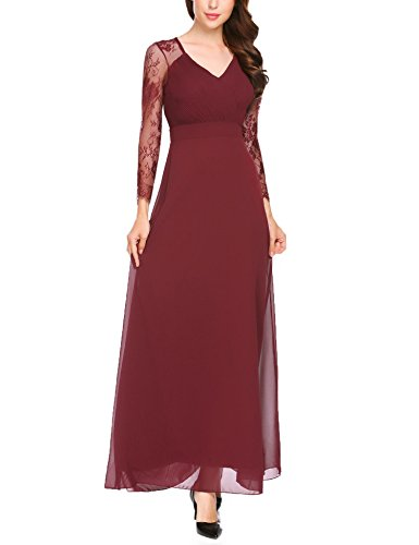 Length Full Gown Evening - ANGVNS Women's Formal V Neck Long Sleeve Lace Fit and Flare Full Length Evening Gowns Dress Wine Red S