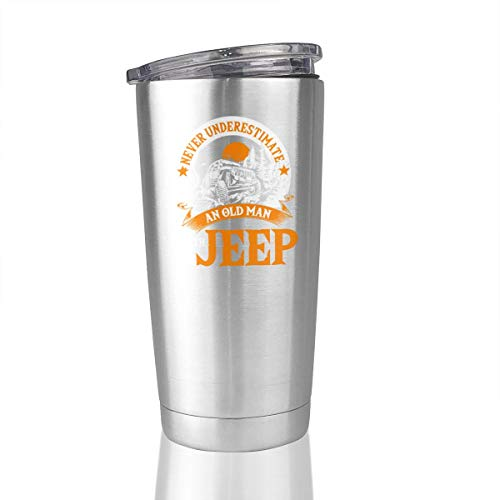 An Old Man With A Jeep T Shirt 20 Oz Stainless Steel Tumbler Cup Vacuum Travel Mug Novelty Gifts -