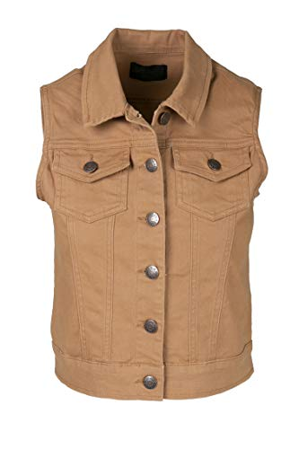 SHOP DORDOR BW-6006 Women's Sleeveless Button Up Cropped Solid Jacket Vest Tabacco S