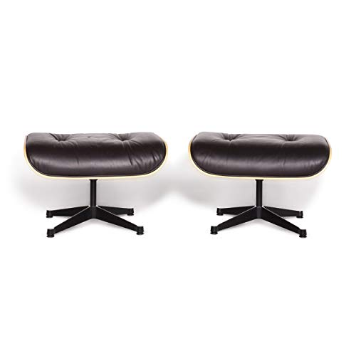 Vitra Set Chair - Vitra Eames Lounge Chair Designer Leather Stool Set Brown Charles & Ray Eames Chair