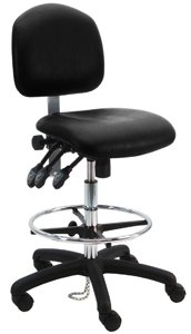 Deluxe Vinyl Ergonomic ESD Anti Static Chair/Stool with Footring, 450 lbs Capacity, 19'' Width x 17'' Depth, 23''-33'' Seat Height, Black, 1 Lever Control by BenchPro (Image #2)