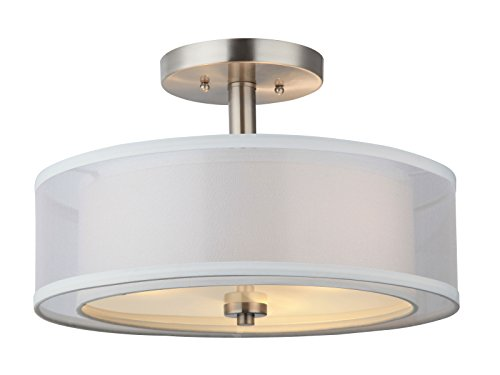 Semi Flush Ceiling Fixture - Hardware House LLC 20-7812# 3-Light Round Semi Flush Light Satin Nickel