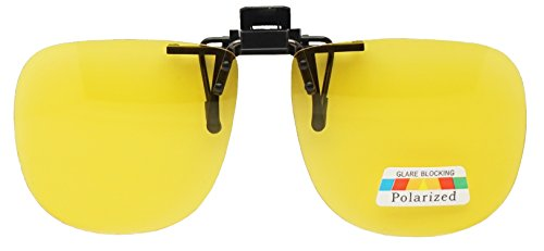 60mm Wide Large Polarized Night Driving Clip On Sunlgasses Flip Up Over Glasses (Yellow, - Sunlgasses