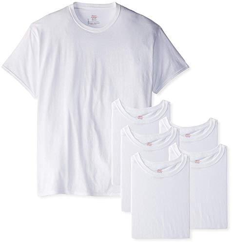 Hanes Men's 6-Pack FreshIQ Crew T-Shirt (Medium (38-40), White)