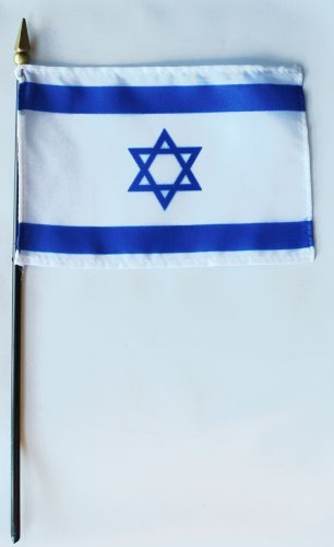 Israel 4x6 Inch Israel Stick Flag Sold As A Pack Of 12 Made in the USA by Valley Forge Flag