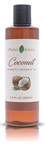 Coconut Aromatic Massage Oil - Made with Jojoba, Vitamin E and PURE ESSENTIAL OIL - Therapeutic Body & Mind Relaxation