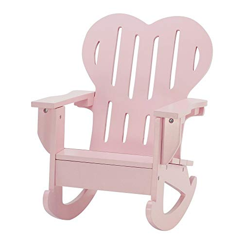 (18 Inch Doll Furniture | Pink Outdoor Adirondack Rocking Chair with Heart Shaped Back | Fits American Girl Dolls)