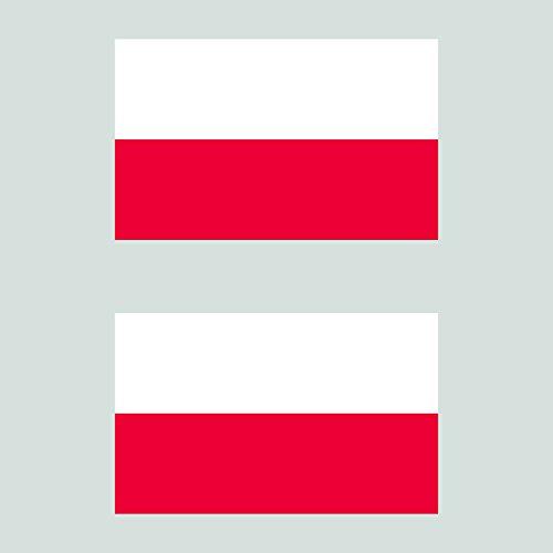 Two Pack Polish Flag Sticker FA Graphix Decal Self Adhesive Vinyl Poland (Polish Flag Car Decal)
