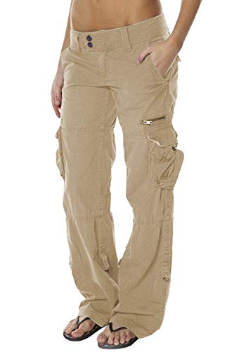 HZKLFS Women's Casual Cargo Pants Loose Fit Solid Military Multi-Pockets Trousers Khaki