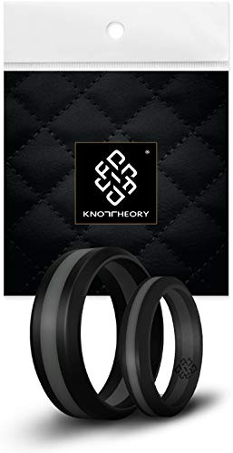 - Knot Theory Striped Silicone Rings for Men Women - Dark Grey Line 8mm Size 9 - Non-Bulky Sleek Design - Engagement Wedding Anniversary Husband Wife Gift - Safe for Gym, Work, Hunting, Sports, Travels