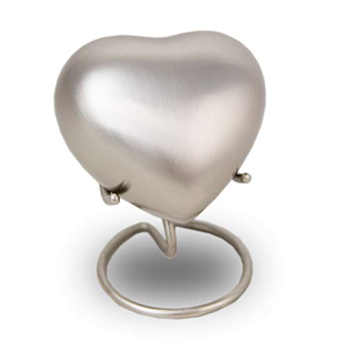 (Heart Bronze Memorial Funeral Keepsake Sharing - Extra Small - Holds Up to 3 Cubic Inches of Ashes - Pewter Silver Cremation Keepsake Urn for Ashes - Engraving Sold Separately)