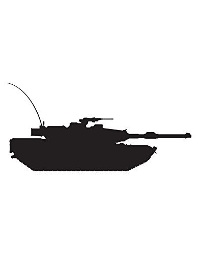Athena Bacon Military Tank Wall Decal Sticker for Kid's room 20in Tall X 42in Wide (BLACK)