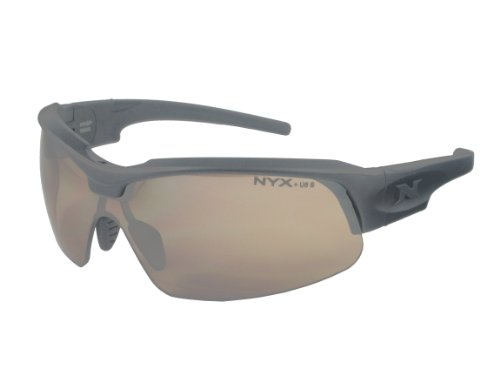 NYX Sport Vision PRO Z-17 Series Sunglass with Z87.1 Safety Rating, Matte-Black Frame/Amber 37 Safety Lens, - Rating Sunglasses