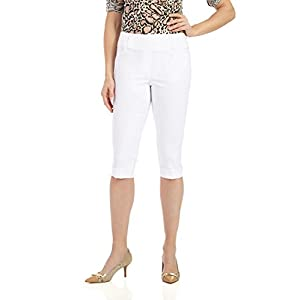 Rekucci Women's Ease In To Comfort Stretchy Slim Fit Capri With Cuff Detail (10,White)