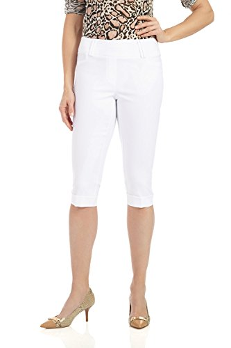 Rekucci Women's Ease in to Comfort Stretchy Slim Fit Capri with Cuff Detail (16,White)