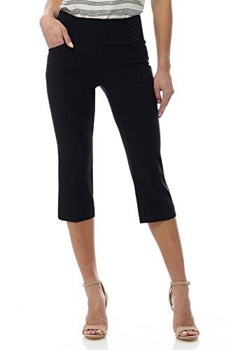 Rekucci Women's Ease into Comfort Wide Waist Capri with Back Lacing Detail - Dress Capris Black