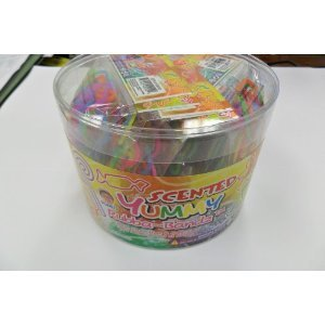 288 Bands Pii Scented Yummy Rubba Bandz Shaped Rubber Bands Bracelets 24 Packs Per Tub with Free Necklace