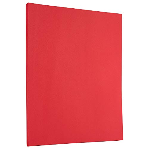 JAM PAPER Colored 24lb Paper - 8.5 x 11 Letter - Red Recycled - 50 Sheets/Pack