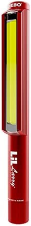 Nebo LiL Larry Red 250 lumen Flashlight COB LED 6373 Magnetic Worklight with 3 X EdisonBright AAA Alkaline batteries bundle