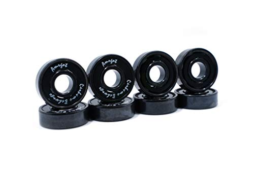 WiiSHAM Premium Ceramic Bearings with Indestructible Balls for a Faster, smoother ride for Skateboards, Longboards, Scooters, Spinners (8 Pack (w/Spacers & Washers)) (8 Pack (Spacers & Washers)Black)