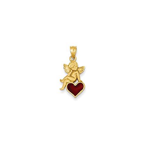 Roy Rose Jewelry 14K Yellow Gold Enameled Angel on Heart Pendant (Enameled Angel Pendant)