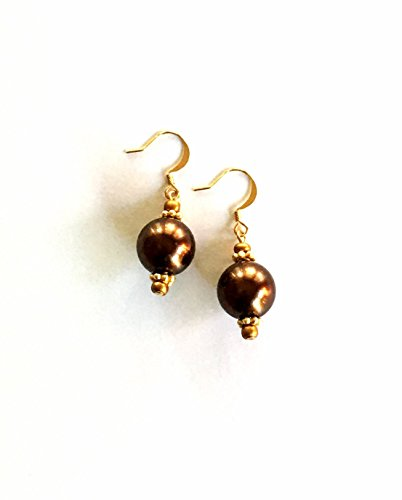 Chocolate Brown Glass Pearl Earrings