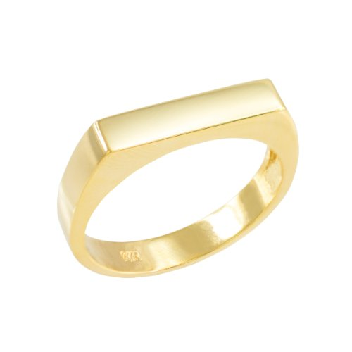 Stackable 10k Yellow Gold Custom Engravable Flat Top Signet Ring (Size 6.5)