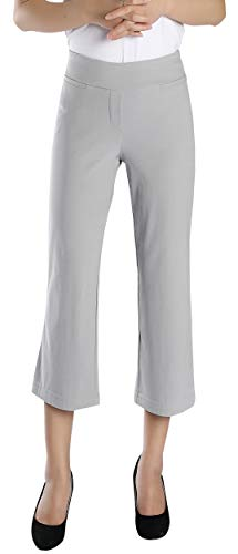 Foucome Dress Pants for Women-Slim Bootcut Stretch High Waist Capris with All Day Comfort Pull On Style Gray ()