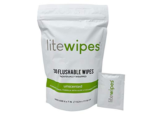 Litewipes 30 Count Premium Discreet Flushable Butt Wipes for Office/Travel/Outdoors, Unscented with Aloe & Cucumber Extract (Individually Wrapped Biodegradable Cleansing Wipes)