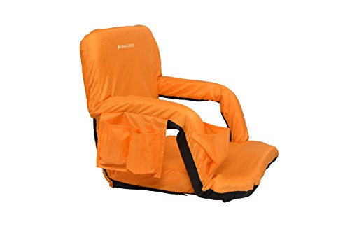 Snocreeq Portable Reclining Stadium seat Folding Sport Chair for Bleachers Benches Cushion Padded Back&armrests, Slip-&Water-Resistant, Easy-Carry Straps.(Orange)