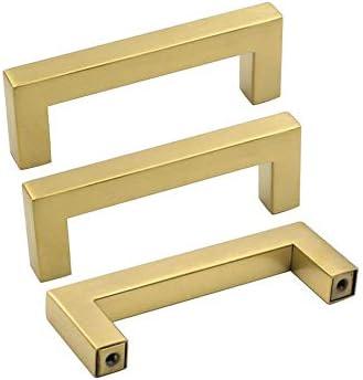 5/pieza Oro c/álido Golden Muebles Tiradores Acero Inoxidable Tubo cuadrado lat/ón cepillado puerta Tiradores lsj12gd/ /Tirador para caj/ón Tirador para Incluye Tornillo