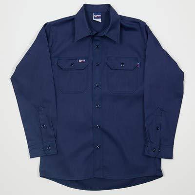 Lapco FR 8.7 Cal 7 oz. Flame Resistant 100% Cotton Twill Men's FR Uniform Shirt, Navy, Size Regular, 4X-Large