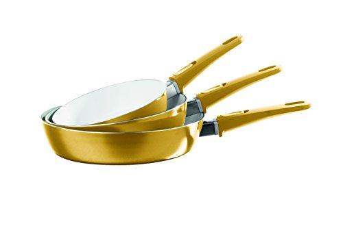 TV Unser Original 08957 bratmaxx Keramik-Hochrandpfannen mit abnehmbaren Griffen, 3-er Set, gold