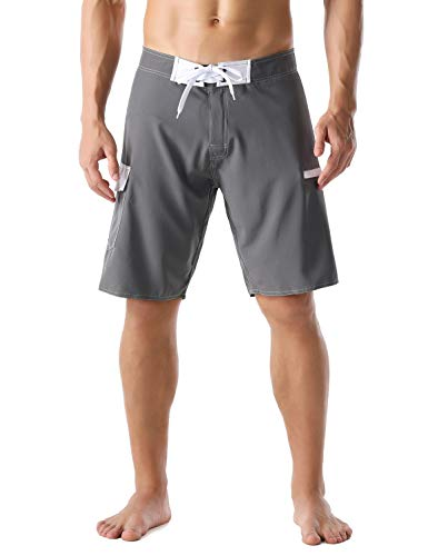 Nonwe Men's Beachshorts Quick Dry Summer Vacation Zipper Pocket Fishing Board Shorts Gray 34 (Fishing Swim Trunks)