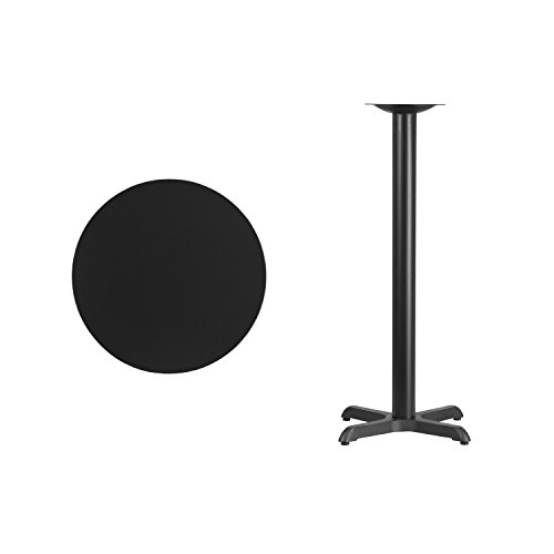 Flash Furniture 24'' Round Black Laminate Table Top with 22'' x 22'' Bar Height Table Base by Flash Furniture