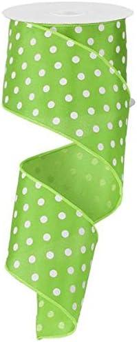 Brown and White Polka Dot Print 2 inch Mini Hair Bow Mint Green