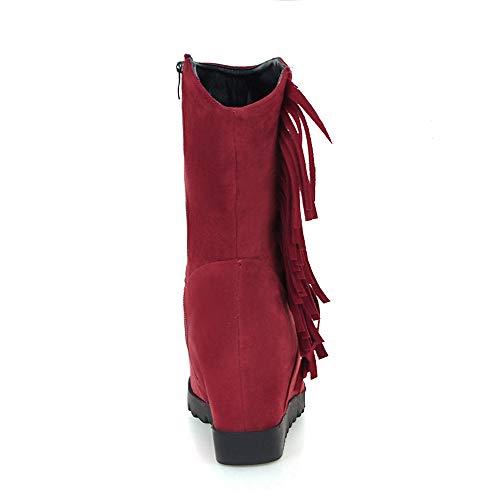 Les Gland De Des Coins Suede Bout Femmes Moyen Zipper Magiyard Neige Rouge Chaussures Tube Bottes Rond wUdS8wFq