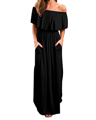 Kidsform Women Off Shoulders Maxi Dress Short Sleeve Ruffles Side Split Long Dress with Pockets Black 2XL