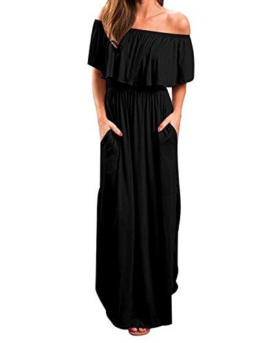 Kidsform Women Off Shoulders Maxi Dress Short Sleeve Ruffles Side Split Long Dress with Pockets Black XL