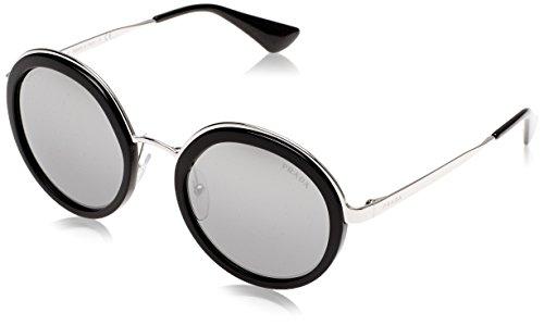 Prada PR50TS 1AB6N2 Black PR50TS Round Sunglasses Lens Category 3 Lens - Prada Sunglasses Mirrored