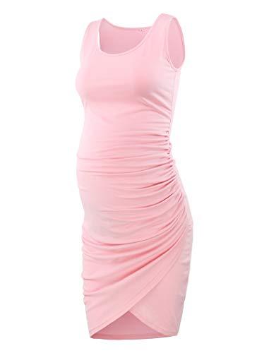 Ecavus Women's Maternity Mama Sleeveless Tulip Dress Wrap Hem Ruched Casual Fitted Sheath Dress Pink (Pink Dress Tulip)