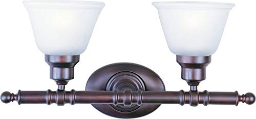 Maxim 7142FTOI Essentials 2-Light Bath Vanity Wall Sconce, Oil Rubbed Bronze Finish, Frosted Glass, MB Incandescent Incandescent Bulb , 60W Max., Dry Safety Rating, Standard Dimmable, Imitation Silk Shade Material, Rated Lumens